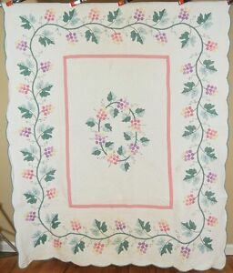 Well Quilted Vintage 30 S Grapevine Applique Antique Quilt Great Border