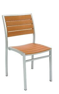 Lot Of 10 Aluminum Restaurant Outdoor Patio Imitation Teak Slats Chair