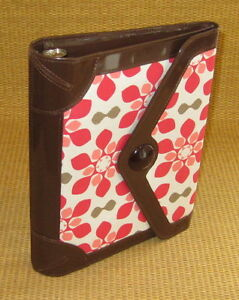 Classic 1 Rings Brown pink Floral Sim Leather Franklin Covey Planner binder