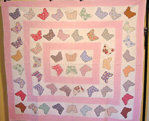 Fabulous Antique Butterfly Applique Quilt Hand Appliqued Hand Quilted
