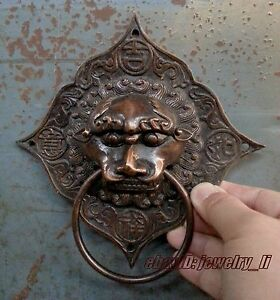 Classical Folk Rare Chinese Old Copper Foo Dog Lion Door Knocker