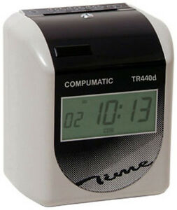 New Compumatic Tr440d Heavy Duty Time Clock 250 Cards 10 Card Rack Ribbon