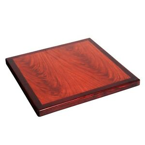Lot Of 6 24 Square Restaurant Resin Table Tops Wood Edge Cherry Dark Mahogany