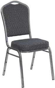 Lot Of 100 Banquet Crown Back Stack Chair With Black Fabric And Silver Frame