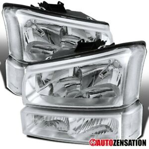 For 2003 2006 Chevy Silverado Avalanche Clear Headlights bumper Signal Lamps