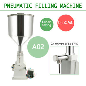 New A02 Pneumatic Liquid Paste Filling Machine For Cream Shampoo Cosmetic 5 50ml