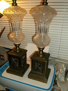 Pair Of Hollywood Regency Pineapple Glass And Brass Table Lamps 1960s
