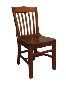 Lot Of 20 Mahogany Finish Vertical Slat Back Wooden Restaurant Chair