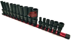 16pc 3 8 1 4 Dr Swivel Deep Impact Socket Set Mm Sae Pro Set W Skt Holder