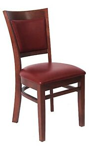 Lot Of 20 Mahogany Finish Vinyl Back Wooden Restaurant Chair Vinyl Seat