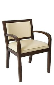 Lot Of 10 Walnut Finish Wooden Restaurant Arm Chair Vanilla Vinyl Back