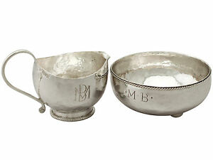 Sterling Silver Cream Jug Sugar Bowl Arts And Crafts Style Antique George V