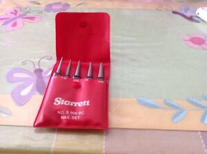 Vintage Starrett No S 800 Five Pc Set Square Head Center Punch Set W case
