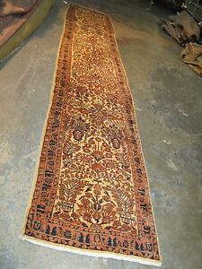 Antique Persian Sarouk Rug Runner 2 6 X 12 0 Hand Knotted Wool