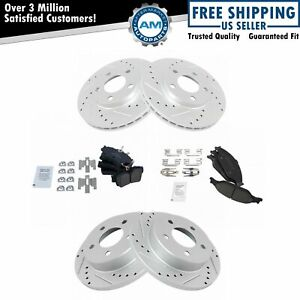 Nakamoto Rotor Brake Pad Kit Ceramic Performance Drilled Slotted Front Rear