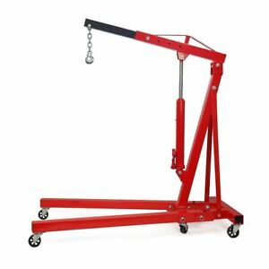 2 Ton Engine Hoist 4000lb Heavy Duty Cherry Picker Stand With Folding Legs Red