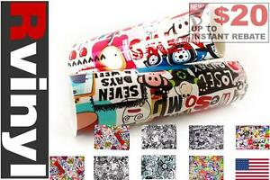 Rwraps Sticker Bomb Vinyl Wrap Sheet Film Roll For License Plate Frame
