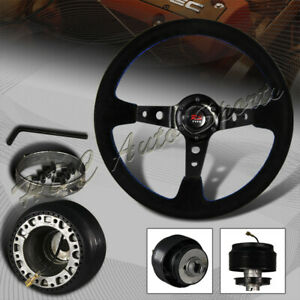 350mm 6 Hole Black Suede Leather Deep Dish Steering Wheel for Civic Integra Hub