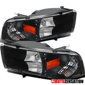 94 01 Dodge Ram Truck Black Led Drl Crystal Headlights Right left