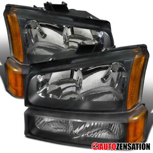 2003 2006 Chevy Silverado Avalanche Black Clear Headlights Bumper Lamps Amber