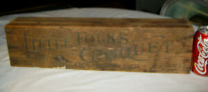 Antique Primitive Usa Country American Folk Art Croquet Game Wood Sign Toy Box