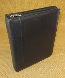 Classic 1 125 Rings Black Leather Franklin Covey quest Zip Planner binder Usa