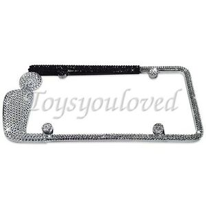 Golf Club Clear Crystal Bling License Plate Frame Made With Swarovski Elements