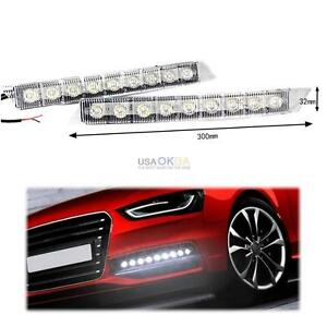 2x 9 Led Daytime Running Light Drl Fog Lamp Lights Daylight For Audi A6 S6 Q5 Q7