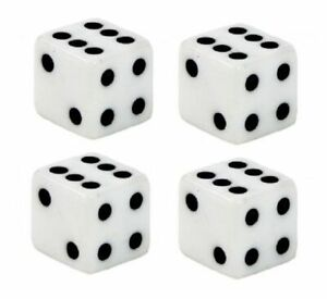 White Dice Black Dots Tire Valve Stem Caps Covers Set Of 4 Car Truck Hot Rat Rod