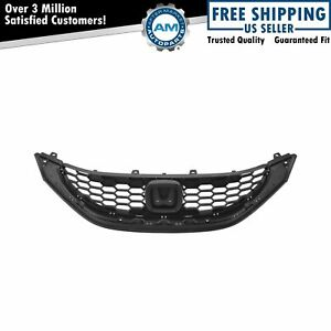 Front Upper Textured Black Grill Grille Assembly For 13 15 Honda Civic 4dr Sedan