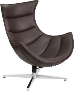Brown Leather Swivel Cocoon Chair