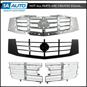 Front Upper Chrome Insert Black Shell Grille Grill For Cadillac Escalade Truck