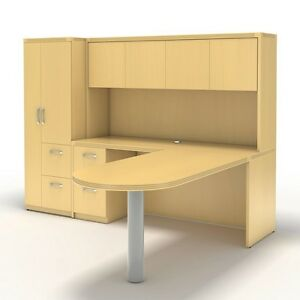 Mayline Aberdeen Executive L shaped Desk Package Maple