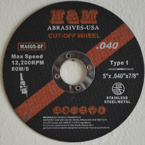 100 5 Inch X 040 X 7 8 Cut off Wheels Stainless Steel Metal Cutting Discs