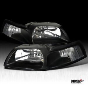 For 1999 2004 Ford Mustang Black Headlights clear Corner Signal Lamps Left right