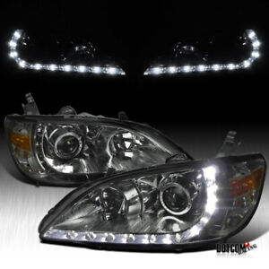 For 2004 2005 Honda Civic 2 4dr Smoke Projector Headlights r8 Led Lamps Pair