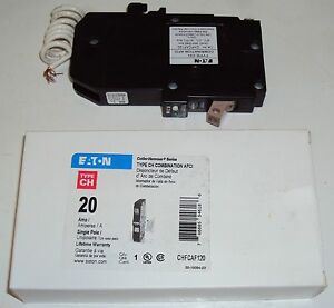 Eaton Chfcaf120 Circuit Breaker Ch 20a 120 240v Combo Fireguard arc Fault Led