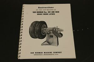 Winona Van Norman 302 302h Little Brute Brake Lathe Operating Manual Parts Id