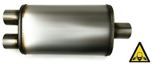 Universal Oval Exhaust Muffler Center 2 25 Inlet To 2 25 Dual Outlet