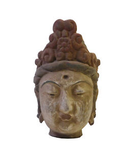 Chinese Rustic Wood Kwan Yin Head Statue Cs1688