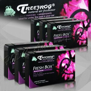 6 X Tree Frog Black Musk Natural Extreme Car Air Freshener Fresh Box Mini