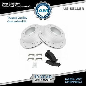 Nakamoto Ceramic Brake Pad Performance Drilled Slotted Rotor Rear Kit For Chevy
