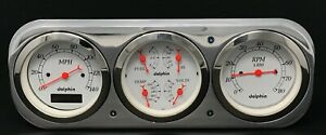 1937 1938 Chevy Car 3 Gauge Cluster White