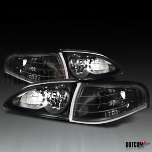 1994 1998 Ford Mustang Black Headlights Clear Corner Lights Turn Signal Lamps