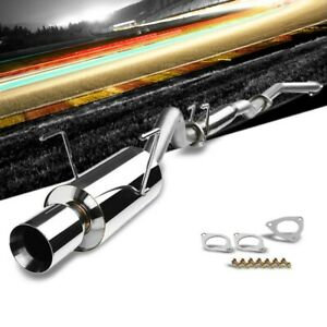 4 Round Roll Muffler Tip Exhaust Catback System For 02 06 Rsx Type s 2 0l Dohc