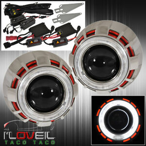 For Ford Red White Halo Retrofit Projector Headlights Hid H1 Kit Ccfl Bi Xenon