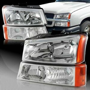 For 2003 2006 Chevy Silverado Avalanche 1500 2500 3500 Chrome Head Lights Lamps