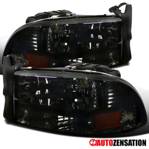 For 1997 2004 Dakota 1998 2003 Durango Smoke Lens Headlights Lamps Left right