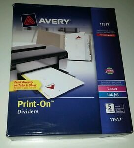 Avery 11517 Print on Dividers Laser Ink Jet 3 Hole Punched White 25 Sets 5 Tab