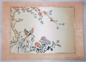 Vintage Chinese Handcrafted On Silk Birds Paper Art Very Rare Lb C1321